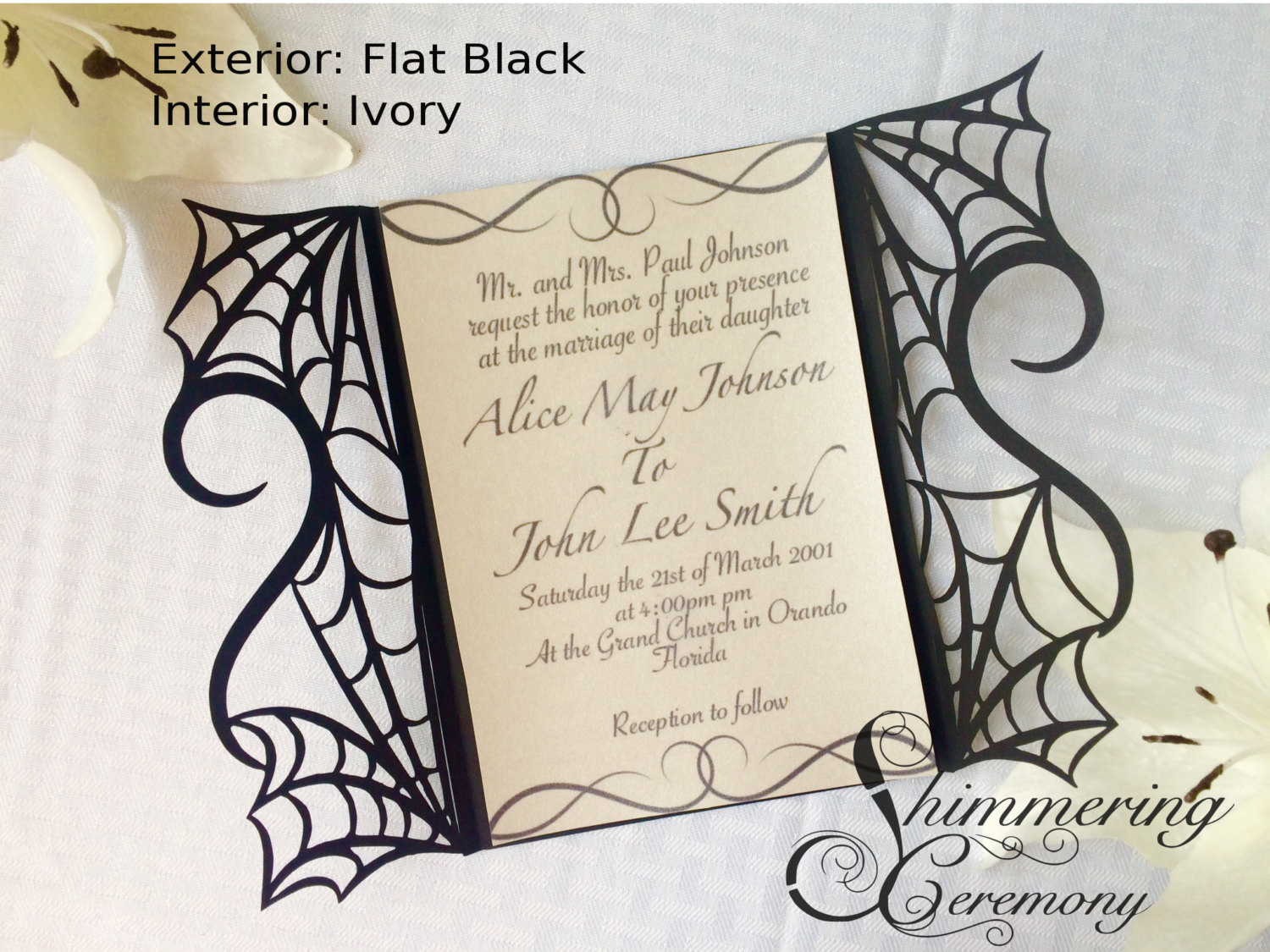 gothic spider web halloween wedding invitation laser cut gatefold – Elegant Halloween Wedding Invitations