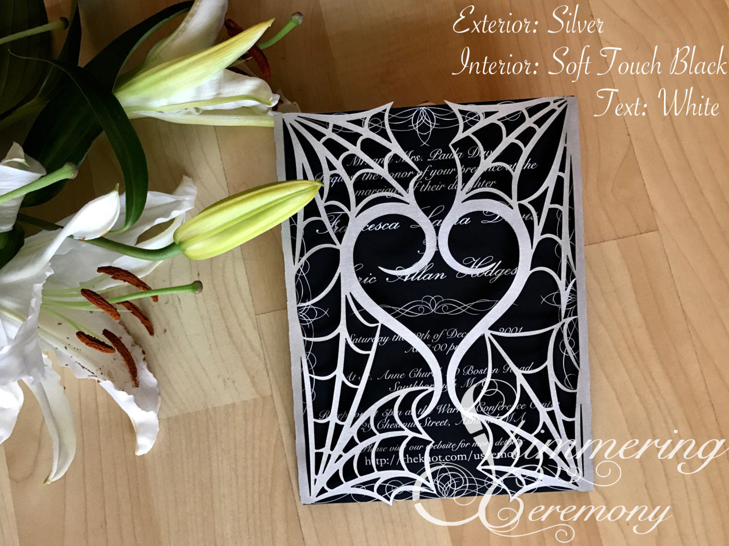 gothic spider web halloween wedding invitation laser cut gatefold ...