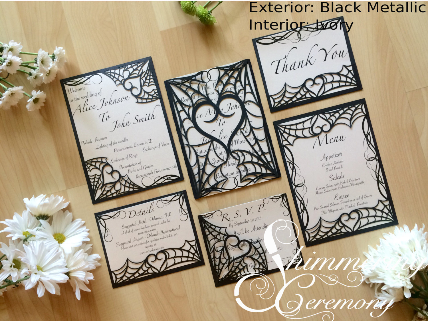 Halloween Wedding Invitation: Gothic Spider Web Halloween Wedding Invitation Laser Cut