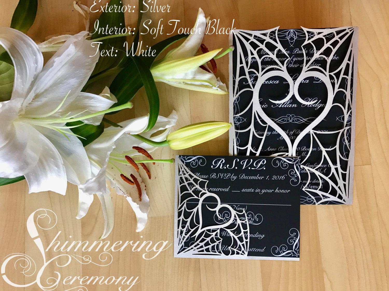 gothic spider web halloween wedding invitation laser cut gatefold ...