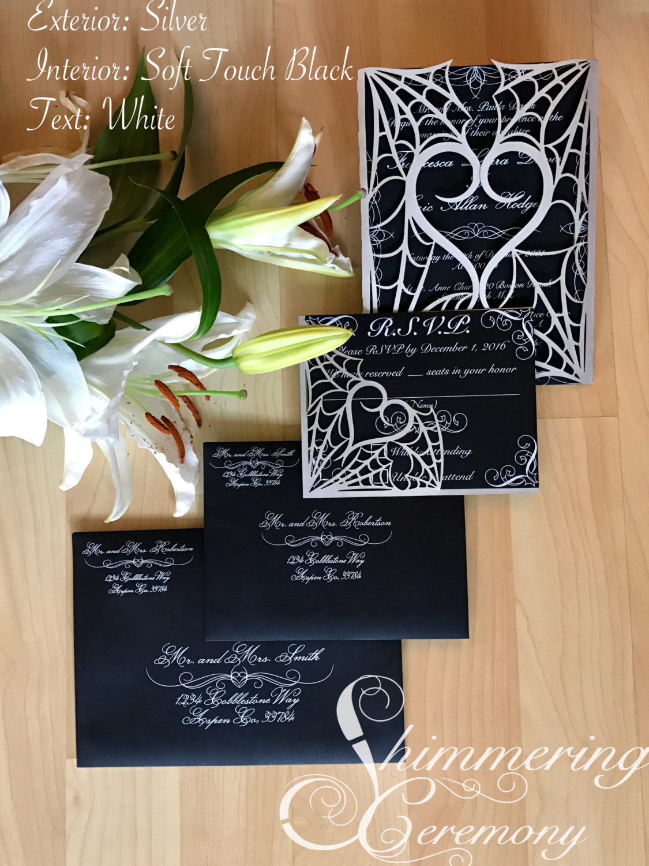 Gothic Spider Web Halloween Wedding Invitation Laser Cut Gatefold With  Matching Laser Cut RSVP Card