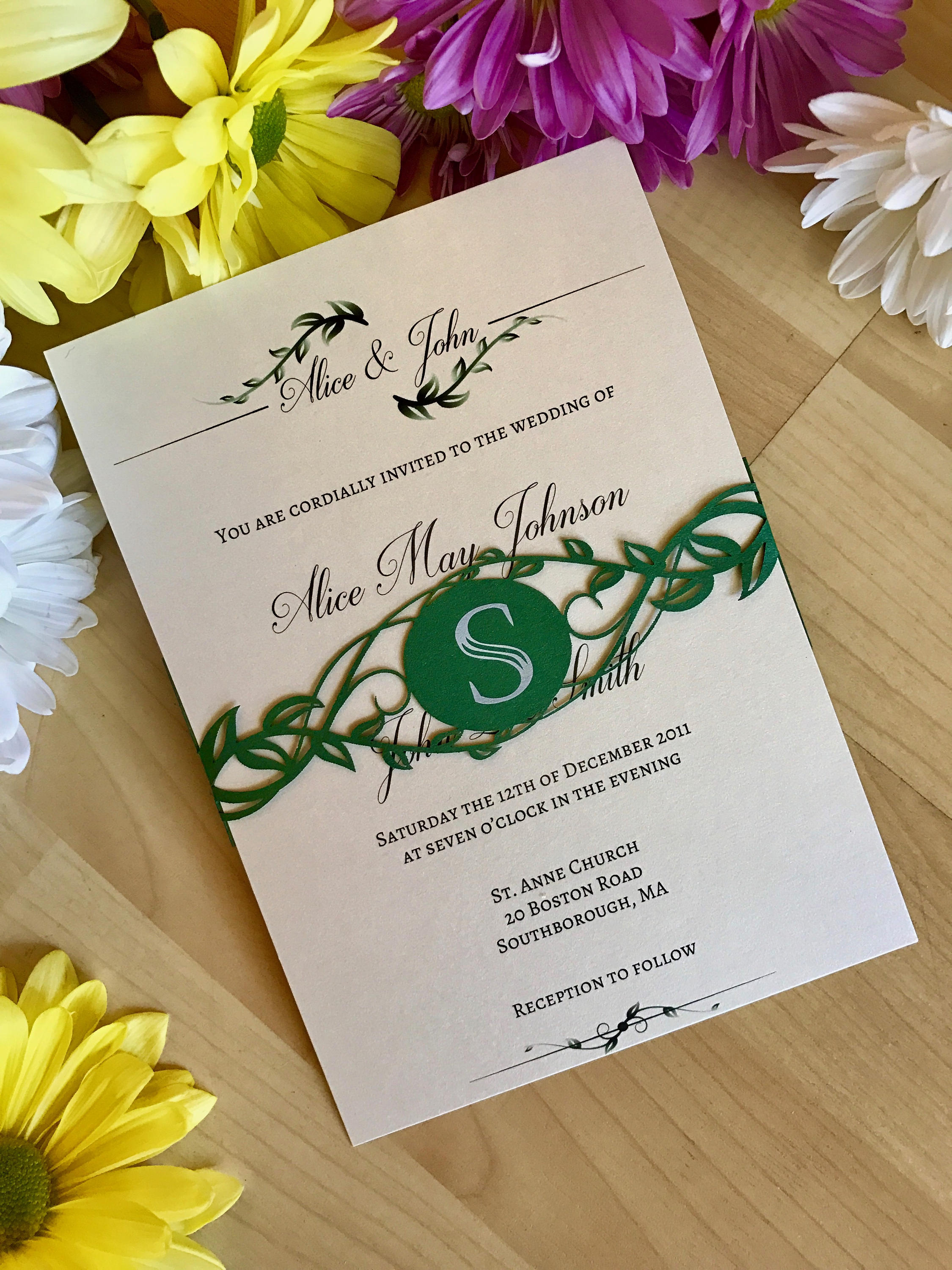 greenery wedding invitation with laser cut belly band custom monogramed leaves and vines modern chic - Wedding Invitation Belly Band