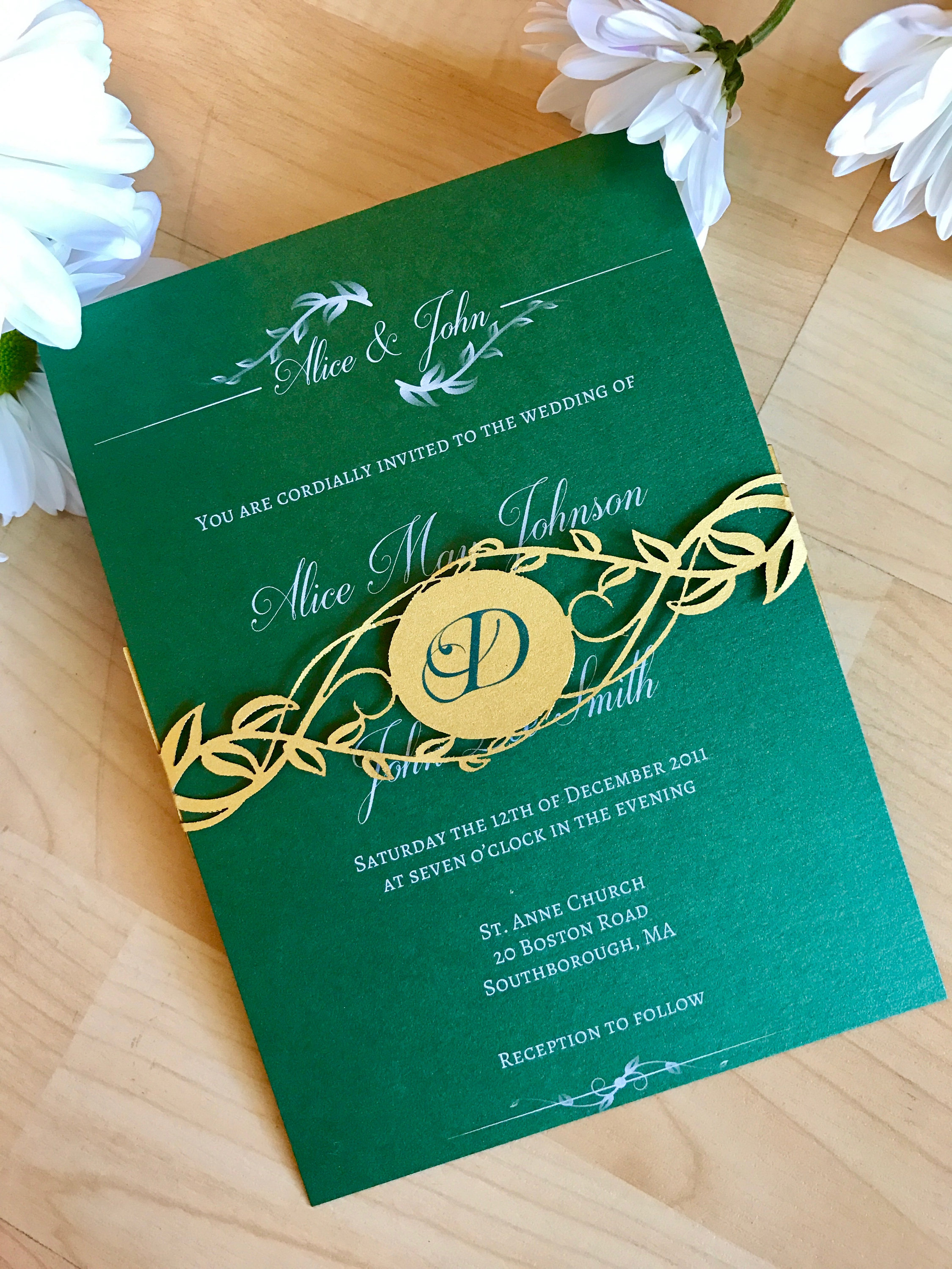 greenery wedding invitation with laser cut belly band