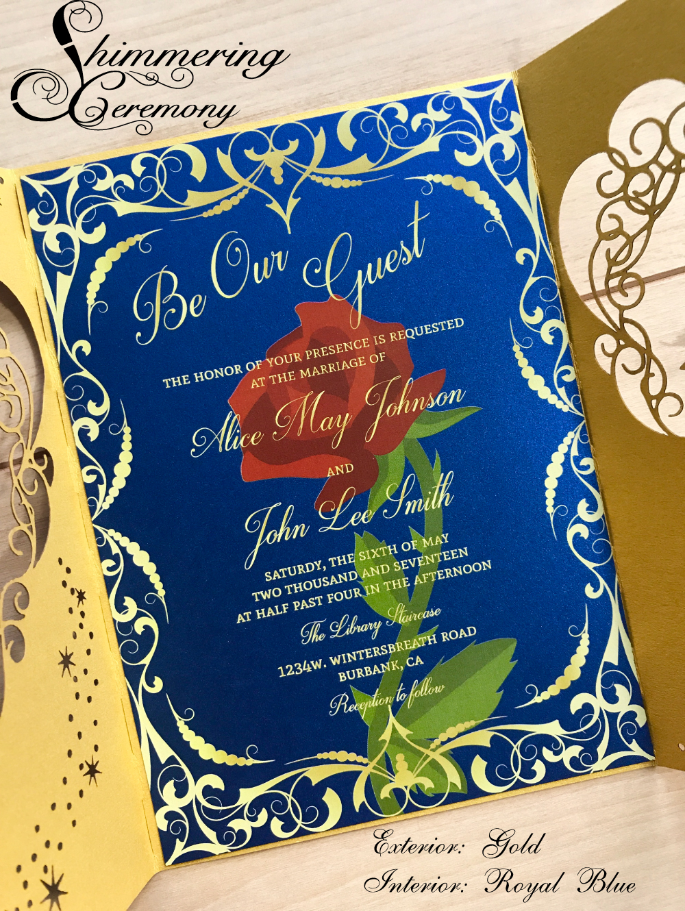 Beauty And The Beast Unique Couple Tattoos: Beauty And The Beast Inspired Wedding Invitation Laser