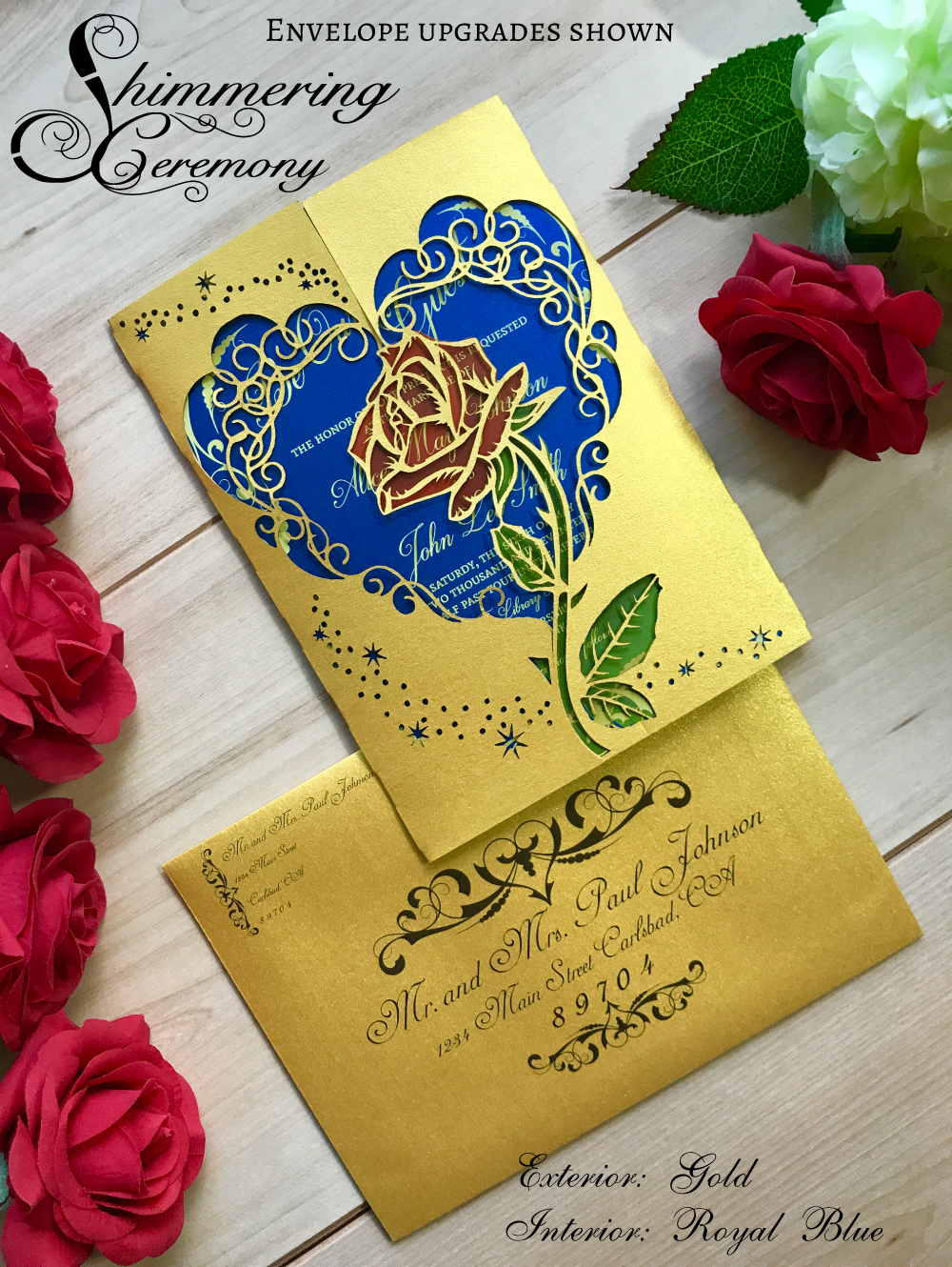 beauty and the beast inspired wedding invitation laser