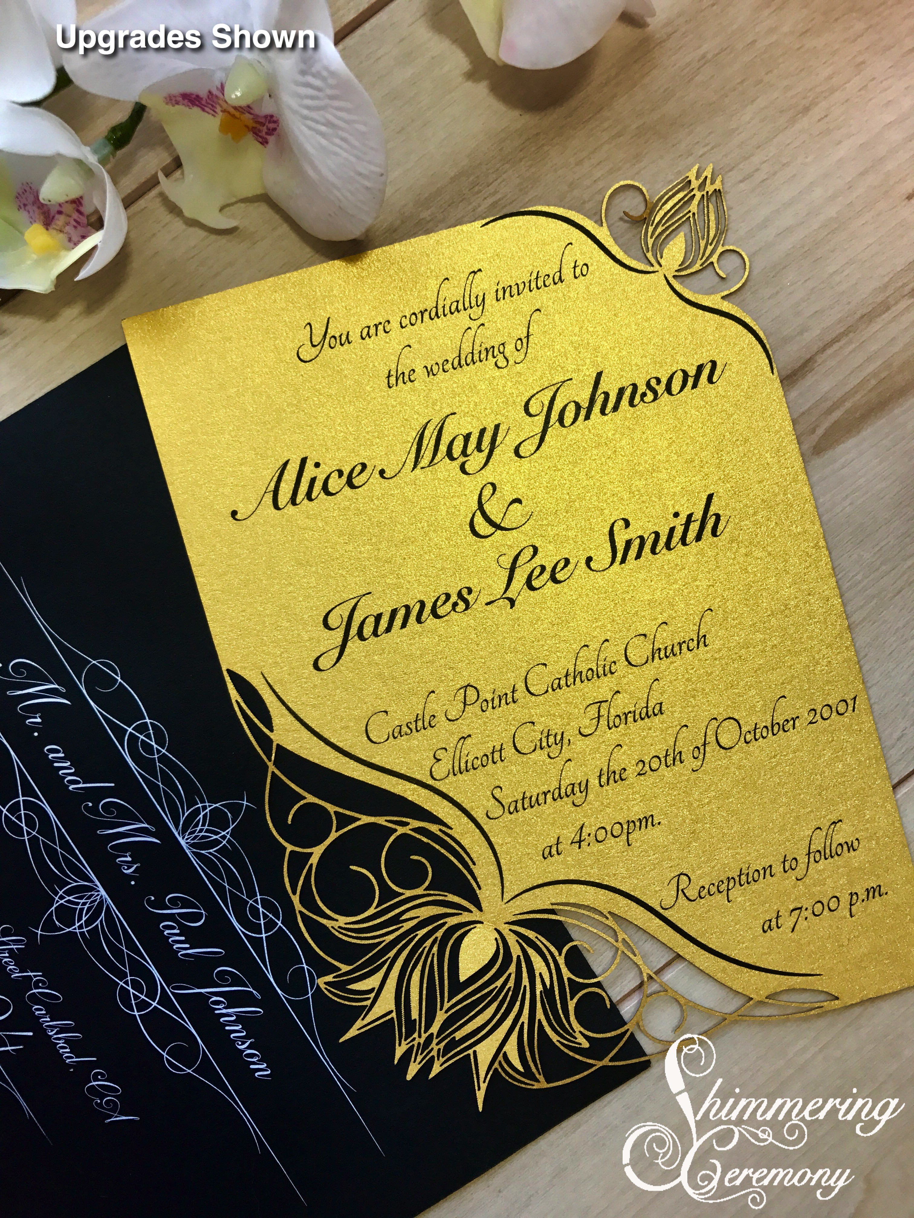 Water Lily Laser Cut Invitation | Shimmering Ceremony
