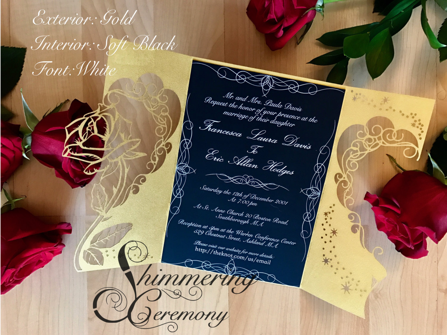 Merveilleux Beauty And The Beast Inspired Wedding Invitation Laser Rose And Magic Cut  Gatefold Princess Party Unique