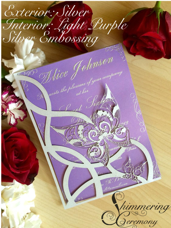 butterfly laser cut wedding sweet sixteen invitation