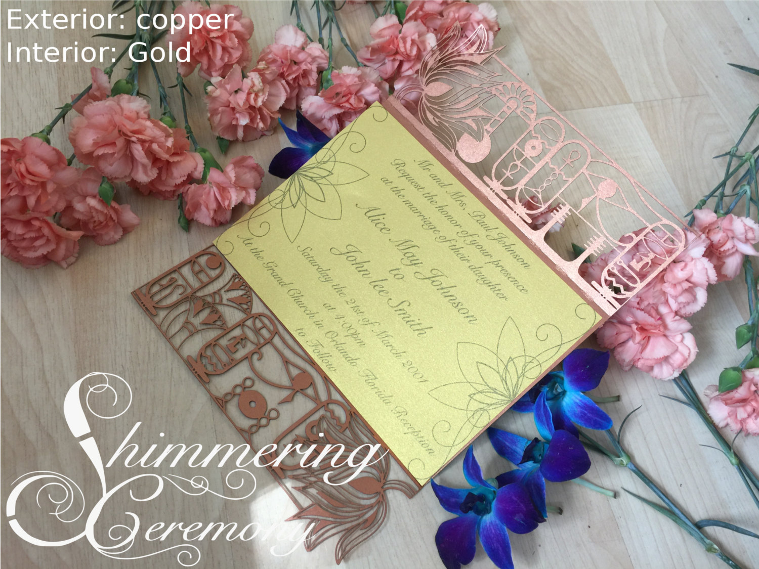 Egyptian Hieroglyph Gate Invitation | Shimmering Ceremony