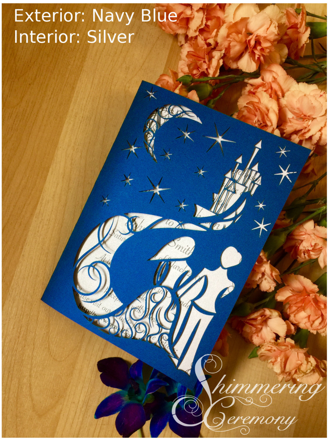 Fairytale Starry Night Laser Cut Wedding Invitation Blue Night With Moon  Bride And Groom Fairy Tale