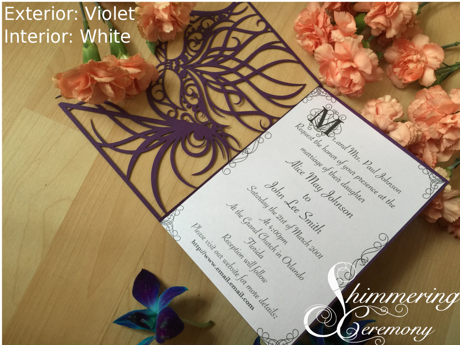 Mardi Gras Mask Laser Cut Invitation Shimmering Ceremony